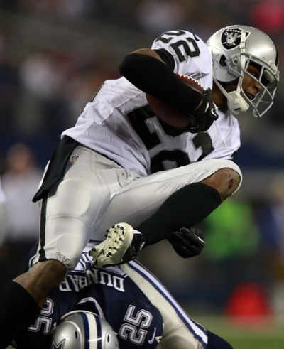 Former Eastern Washington standout Taiwan Jones has made an impact in Oakland on special teams. (Associated Press)