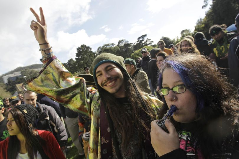 Marijuana smokers gather at Golden Gate Park in San Francisco, Tuesday, April 20, 2010. Marijuana legalization advocates lit up across the country during the annual observance of 4/20, the celebration-cum-mass civil disobedience derived from