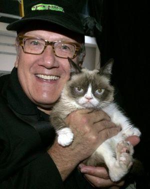 Doug Clark and Grumpy Cat in September 2014. (SR file photo)