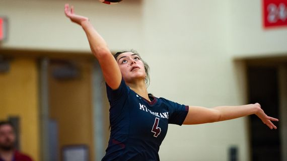 Tia Allen of Mt. Spokane serves against Ferris on Sept. 18, 2018. Allen was named State 3A Player of the Year on Friday. (Libby Kamrowski / The Spokesman-Review)