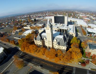 This aerial photo shows the Spokane County Courthouse on Oct. 26, 2013, in front of the Public Safety Building and the Spokane County Jail. Spokane police say an intern in the city prosecutor's office was assaulted Tuesday morning in a women's restroom in the Public Safety Building. (Jesse Tinsley / The Spokesman-Review)