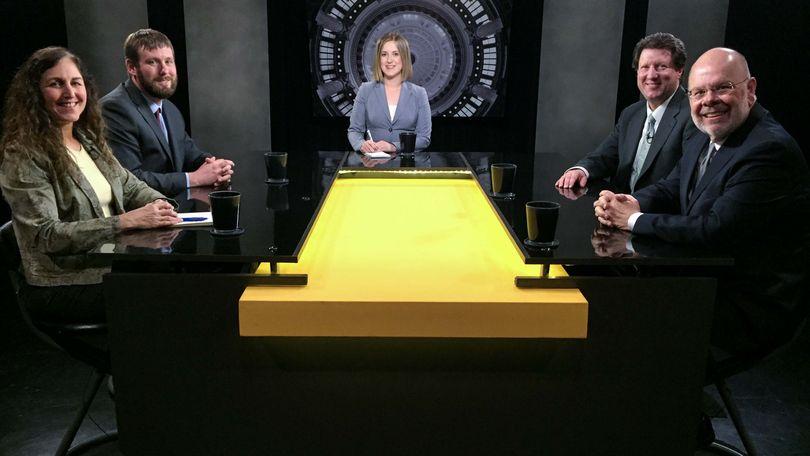 From left, Betsy Russell, Clark Corbin, host Melissa Davlin, Sen. Cliff Bayer, and Sen. Grant Burgoyne, on Friday's