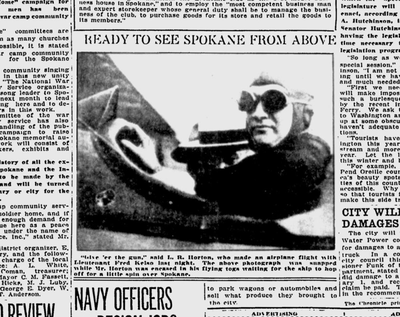 Spokane's passenger air industry debuted when Lt. Fred Kelso began carrying passengers for $10 a flight, the Spokane Daily Chronicle reported. (Spokane Daily Chronicle archives)