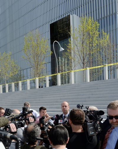 Mark Dressen, FBI assistant special agent in charge, talks to the media outside the Federal Courthouse, Monday, April 21, 2014, in Salt Lake City. A U.S. marshal shot and critically wounded a defendant on Monday in a new federal courthouse after the man rushed the witness stand with a pen at his trial in Salt Lake City, authorities said. (Steve Griffin / The Salt Lake Tribune)