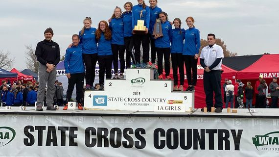 The Deer Park girls cross country team poses after winning the State 1A championship on Saturday, Nov. 9, 2019, at Sun Willows Golf Course in Pasco. (@WIAAWA / Twitter)
