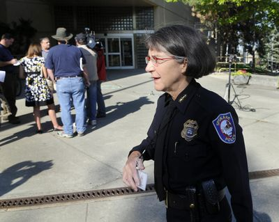 FILE - Anne Kirkpatrick, who served as Spokane's police chief from 2006 to 2012, has reportedly been named police chief of Oakland, California. Here she's seen outside Spokane City Hall in 2011. (Dan Pelle / The Spokesman-Review)