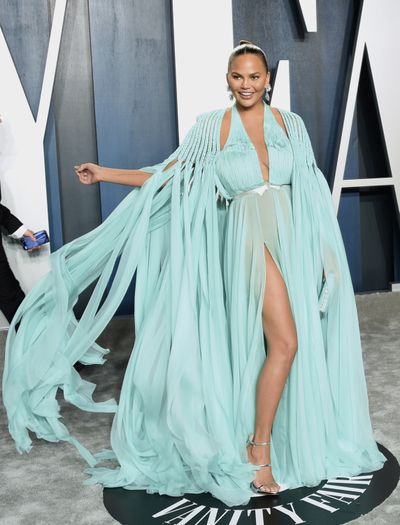 Chrissy Teigen arrives at the Vanity Fair Oscar Party on Feb. 9, 2020, in Beverly Hills, Calif. Teigen turns 35 on Nov. 30.Teigen, who has recently been vocal about her sobriety, took to social media Wednesday, Dec. 30, 2020, to explain her decision to quit drinking.  (Evan Agostini/Associated Press)