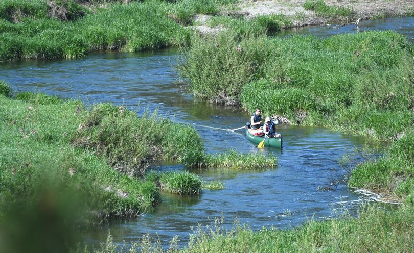 Two Department of Ecology water quality modelers paddle a canoe, towing a testing probe, down Hangman Creek near The Creek at Qualchan Golf Course on April 28, 2016, as they cover the last few miles of water quality testing on the creek. (Jesse Tinsley / The Spokesman-Review)