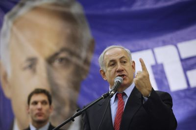 Likud Party leader Benjamin Netanyahu speaks at a campaign event in Jerusalem on Saturday. Israeli polls Friday predicted a narrowing race for Feb. 10 elections.  (Associated Press / The Spokesman-Review)