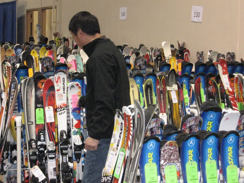 Boise's 63rd annual Ski Swap gets set up on Thursday evening at Expo Idaho (Charlie Russell)