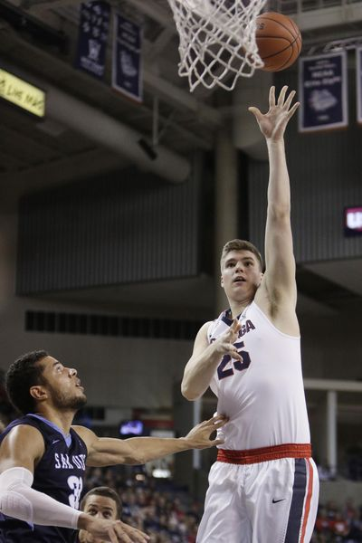Ryan Edwards' left-handed hook was one of the highlights for Gonzaga in its game against San Diego last Saturday.