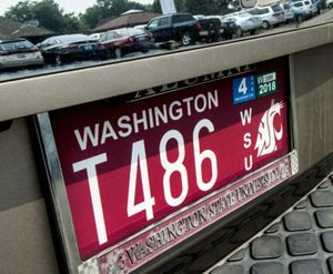 Washington State University license plate. Kathy Plonka/THE SPOKESMAN-REVIEW (Kathy Plonka / The Spokesman-Review)