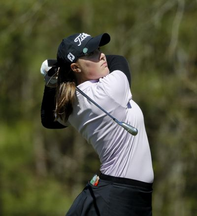 Jennifer Kupcho tees off the 11th hole during the first round of the Augusta National Women's Amateur golf tournament at Champions Retreat in Evans, Ga., Wednesday, April 3, 2019. (David Goldman / Associated Press)
