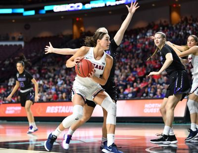 Gonzaga Bulldogs forward Jenn Wirth (3) drives to the hoop against the Portland Pilots during the first half of a West Coast Conference semifinal basketball game on Monday, March 9, 2020, at The Orleans in Las Vegas, Nev.  (TYLER TJOMSLAND)