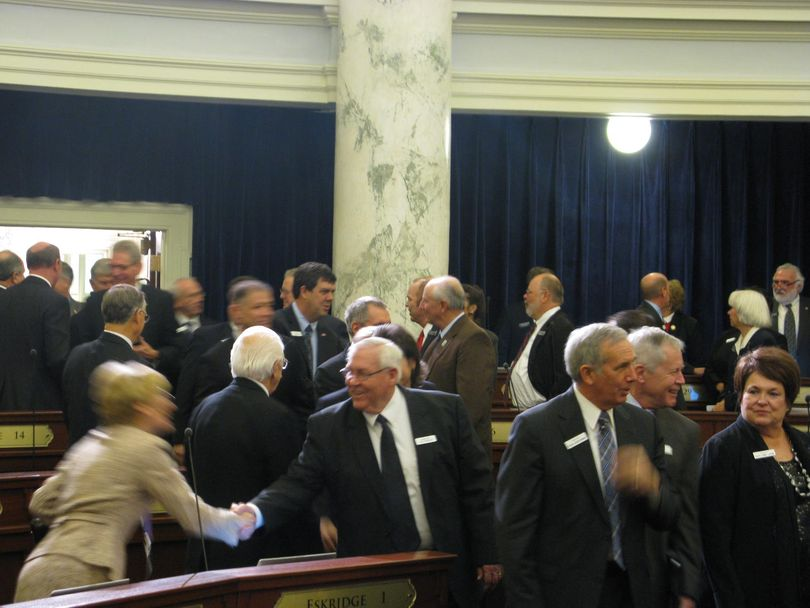 Senators enter the House chamber for the annual State of the State address (Betsy Russell)
