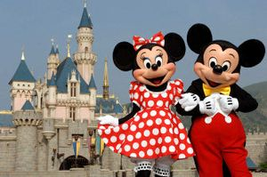 Mickey and Minnie pose at Sleeping Beauty's Castle in Hong Kong Disneyland which opened Monday.  (Associated Press / The Spokesman-Review)