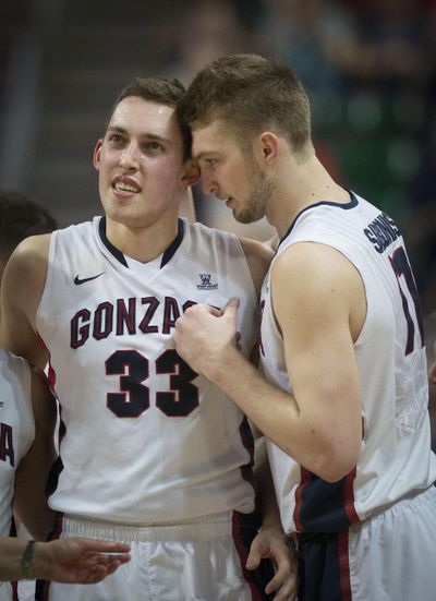 Gonzaga bigs Kyle Wiltjer, left, and Domantas Sabonis trotted the globe to improve their skills over the summer. (Colin Mulvany / The Spokesman-Review)