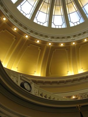 Idaho Senate chambers, shown as evening approached at 6 p.m. on Monday (Betsy Russell)