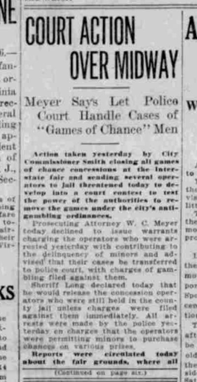 Confusion reined during the Interstate Fair 100 years ago today, as arrests were made for some concessionaires running games of chance at the midway.  (S-R archives)