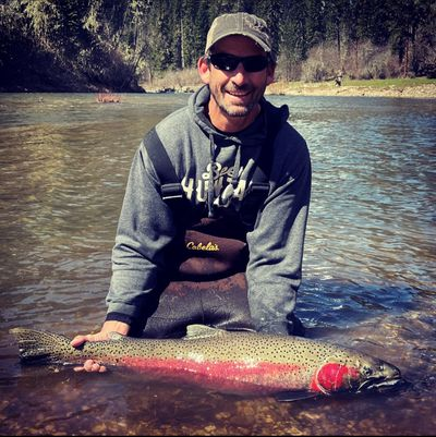 Scott Turner is pictured with his state-record 39.25-inch steelhead caught in the South Fork Clearwater River.  (COURTESY)