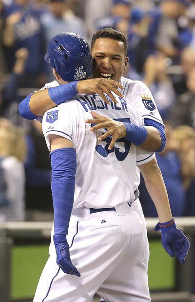 Salvador Perez, Eric Hosmer celebrate Hosmer's home run. (Associated Press)