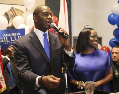 Andrew Gillum and his wife, R. Jai Gillum addresses his supporters after winning the Democratic primary for governor on Tuesday, Aug. 28, 2018, in Tallahassee, Fla. (Steve Cannon / Associated Press)