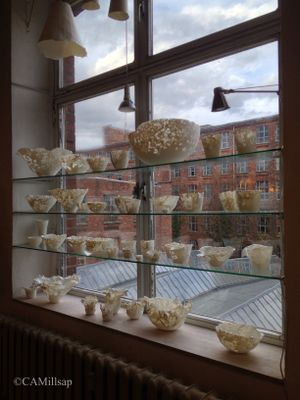 The buildings of Leipzig, Germany's historic Spinnerei can be seen through the windows of Claudia Biehne's porcelain studio. (Cheryl-Anne Millsap / photo by Cheryl-Anne Millsap)