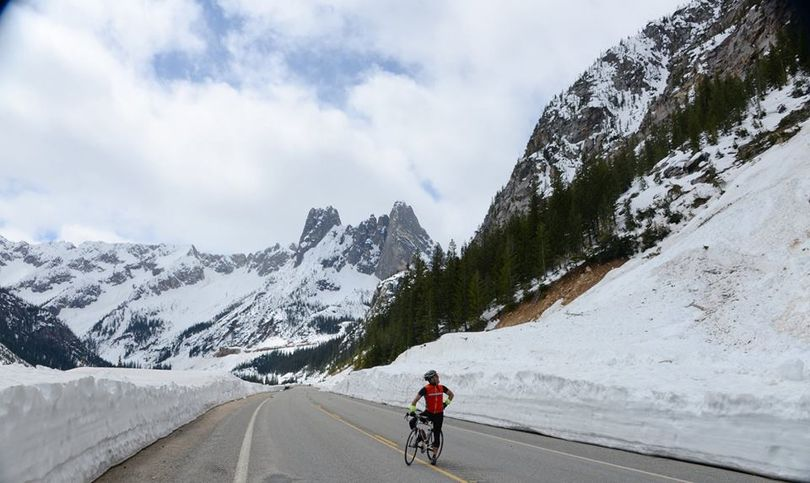 Bicylcst on the North Cascades Highway west of Winthrop on May 4, 2014. (Methow Valley Sport Trails Association)