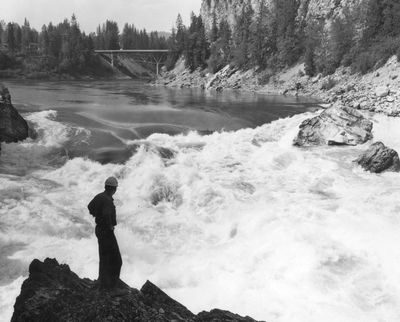 In 1963, the Pend Oreille River flowed with a different pace. These picturesque falls near Metaline Falls were inundated by the reservoir behind Boundary Dam, which started operating in 1967.  (File)