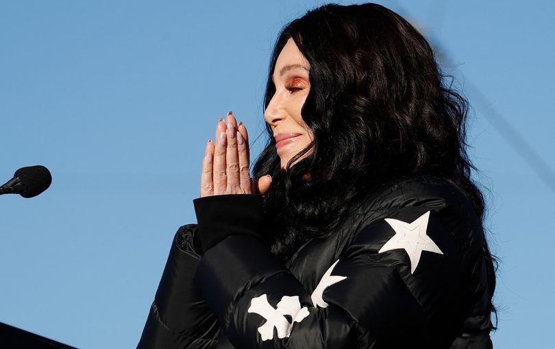 Cher speaks during a women's march rally Sunday, Jan. 21, 2018, in Las Vegas. (AP / John Locher)