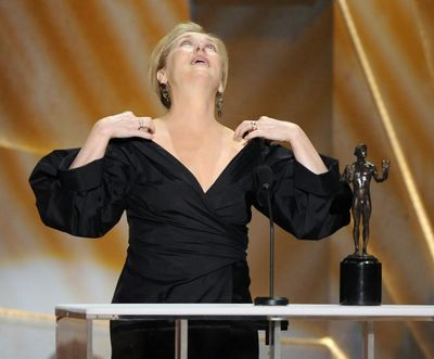 """Meryl Streep reacts to winning the award for outstanding performance by a female actor in a leading role for """"Doubt.""""  (Associated Press / The Spokesman-Review)"""