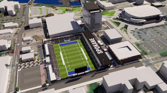 An aerial rendering shows the location of the proposed downtown multiuse stadium.  (Courtesy of Downtown Spokane Partnership)