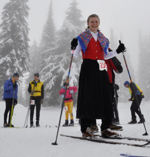 Suzie Strickler of Spokane looked good in her Woolies Division outfit for the 35th annual Spokane Langlauf 10-kilometer cross-country ski race at Mount Spokane State Park on Feb. 10, 2013. (Rich Landers)