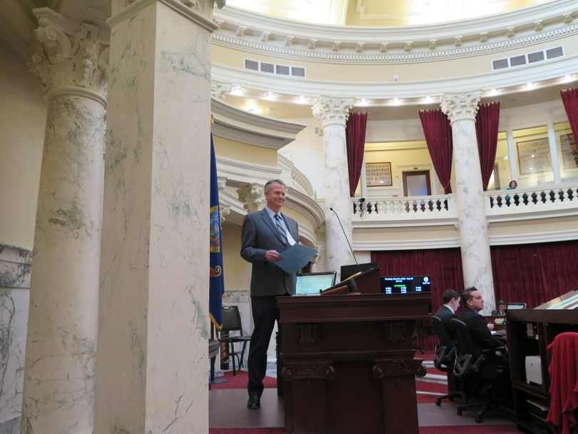 Idaho Lt. Gov. Brad Little presides over the Idaho Senate on Tuesday evening, March 6, 2018 (The Spokesman-Review / Betsy Z. Russell)