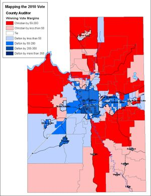 Computer map of Spokane County auditor race, 2010 General Election. (Jim Camden/The Spokesman-Review)