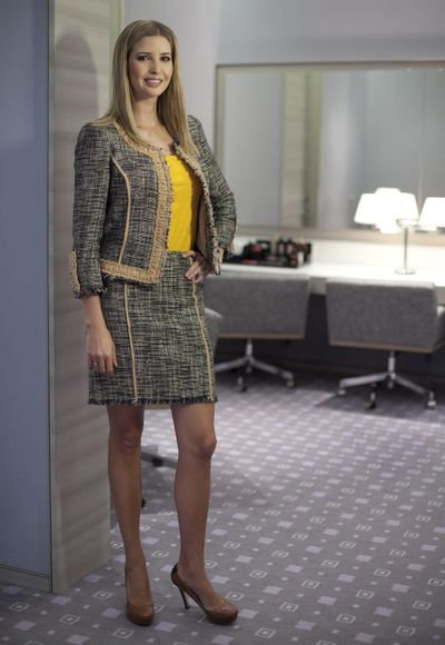 In this March 6, 2015 file photo, Ivanka Trump models an outfit following an interview to promote her clothing line in Toronto. (Pawel Dwulit / Canadian Press)