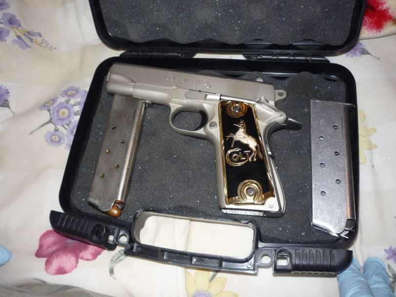 Investigators seized this gun during a drug raid in Quincy, Wash, last week. (Grant County Sheriff's Office)