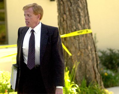 Edgar Steele, attorney for Richard Butler, leaves the Kootenai County Courthouse in August 2000. (Kathy Plonka / The Spokesman-Review)
