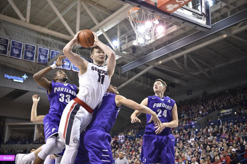 Domantas Sabonis fought his way toward 28 points and 17 rebounds when Gonzaga beat Portland at home on Jan. 9. (Tyler Tjomsland / The Spokesman-Review)