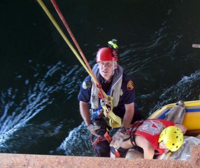 Spokane Valley firefighter Dave Griffiths during a river rescue   in May. Courtesy of Spokane Valley Fire (Courtesy of Spokane Valley Fire / The Spokesman-Review)