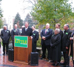 Idaho Lt. Gov. Brad Little, joined by legislators and state elected officials, announces his re-election campaign Friday in Boise's Capitol Park. (Betsy Russell / The Spokesman-Review)
