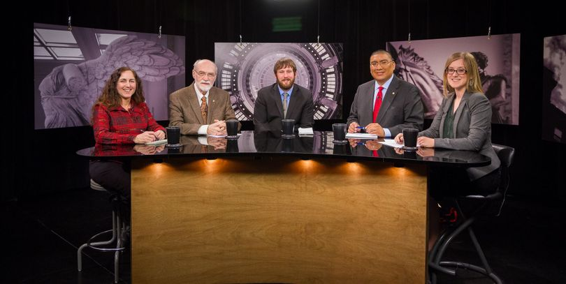 From left, Betsy Russell, Jim Weatherby, Clark Corbin, and co-hosts Aaron Kunz and Melissa Davlin on Friday's