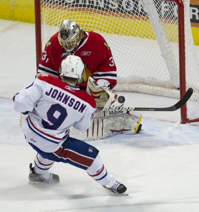 Tyler Johnson is shown in his No. 9 jersey as he scores the Spokane Chiefs' second goal during game 4 of WHL Western Conference finals in Spokane, Wash., Friday, April 29, 2011.  (COLIN MULVANY/The Spokesman-Review)