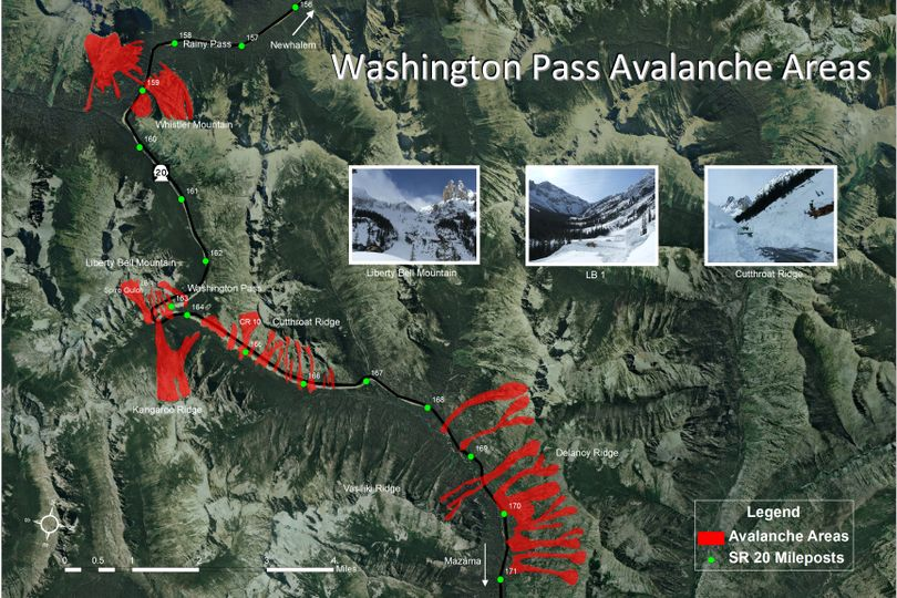 North Cascades Highway avalanche zones. (Washington State Department of Transportation)