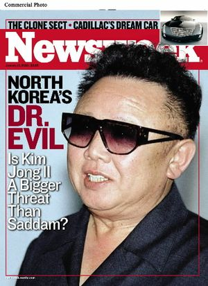 """The January 13, 2003 issue of Newsweek (on newsstands January 6) assesses the scope of North Korea's nuclear threat and contrasts it to the dangers posed by Saddam Hussein's Iraq in the cover story """"North Korea's Dr. Evil: Is Kim Jong Il a Bigger Threat than Saddam?""""(RNewsFoto)"""