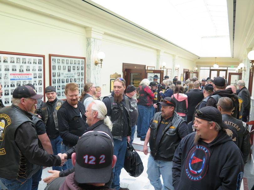 Happy backers of HB 123, the anti-motorcycle profiling bill, fill a Capitol hallway after the bill cleared the Idaho Senate Judiciary Committee on Wednesday, March 8, 2017. (Betsy Z. Russell)