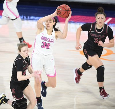 Gonzaga Bulldogs guard Abby O'Connor (30) moves the ball against the Santa Clara Broncos during the first half of a college basketball game on Saturday, February 13, 2021, at McCarthey Athletic Center in Spokane, Wash.  (Tyler Tjomsland/THE SPOKESMAN-RE)