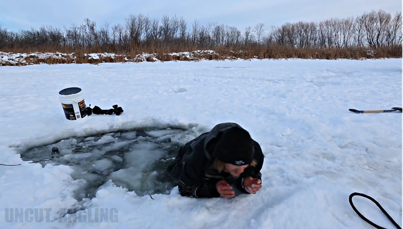Should you break through thin ice into a lake, kick your feet up to the surface to pull and slide on your belly to thicker ice.