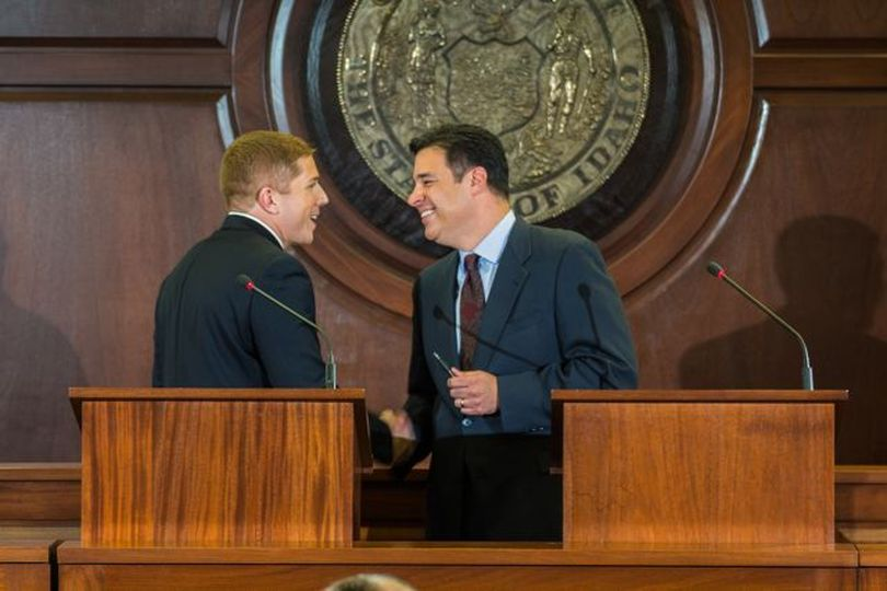 Democratic challenger Jimmy Farris, left, and GOP Congressman Raul Labrador, right, shake hands after a lively debate on live statewide TV on Thursday night. (Idaho Public Television / Kevin Rank)