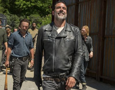 Jeffrey Dean Morgan as Negan, foreground, from the series,